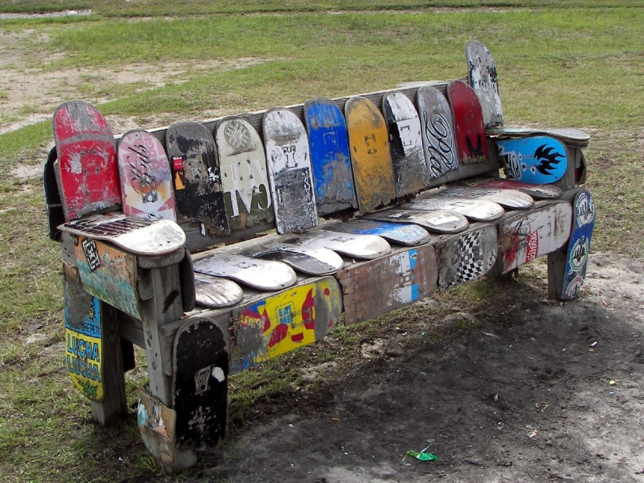 Skateboard park bench absolutely nothing but decks skateboarding magazine - How to reuse magazines seven inspired ideas ...